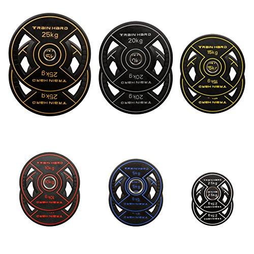Train Hard® Olympia Hantelscheiben Gewichten Gummiert 2,5 kg, 5 kg, 10 kg, 15 kg, 20 kg, 25 kg (2 x 15 kg)