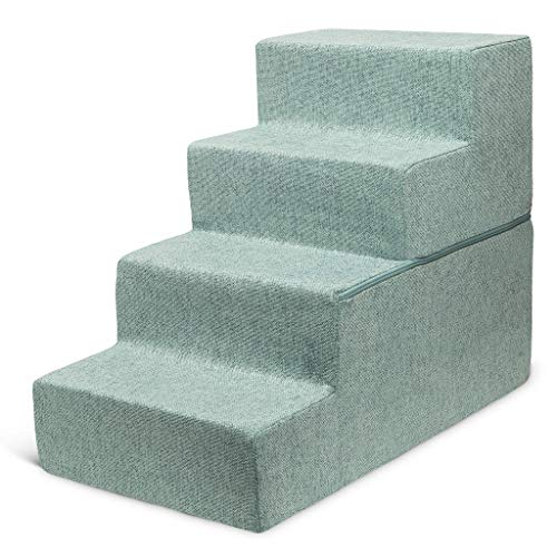 """Best Pet Supplies Made in USA Foldable Pet Steps/Stairs with CertiPUR-US Certified Foam Pale Teal, 4-Steps (H: 22"""")"""