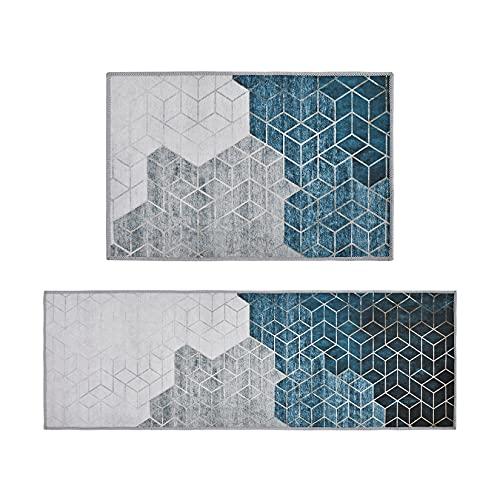 ZUQ 2 Stück Küchenläufer rutschfest, Weiches Küchenmatte Küchenteppich, Wasser und Öl aufnehmen Küche Matten Fußmatte Teppich Set Waschmaschinenfest # 4 40 x 60 cm + 40 x 120 cm