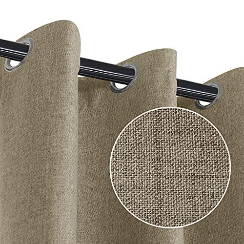 RHF卧室遮光窗帘,原始亚麻外观,100%遮光窗帘,亚麻遮光窗帘,客厅金属环窗帘,粗麻布窗帘-2块面板(50x63天然)