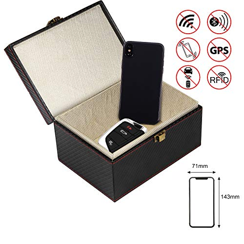 AMIGOB Keyless Go Schutz Autoschlüssel Box Schutzhülle für Funkschlüssel Abschirmung Schlüsselmäppchen Leder Schlüsseletui Schlüsseltasche Strahlenschutz (17 * 12 * 9 cm)