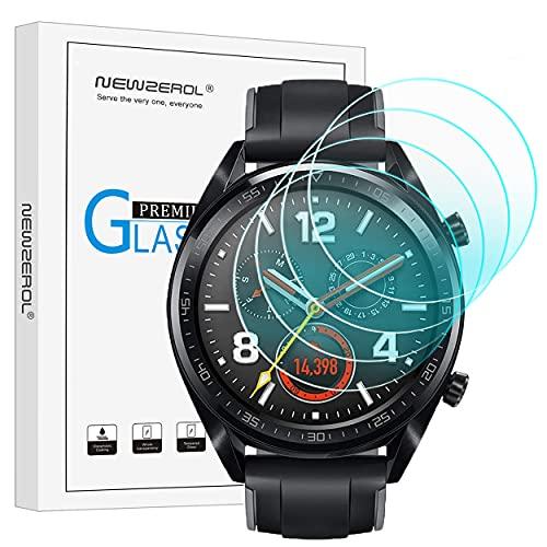 NEWZEROL 4 Stück Panzerglas Ersatz für nur Huawei Watch GT Sport/Classic/Active Schutzfolie, [Nicht für Huawei GT 2] 2.5D Arc Edges 9H Glas Bildschirmschutz Anti-Kratzer blasenfrei Schutzfolie