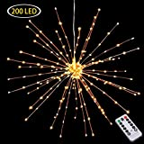Hanging Decorative Lights,200 Led Firework Lights Battery Powered, Tent Chandelier Remote Control, Waterproof Starburst Lights for Gardens Courtyards Porches Christmas Party Decorations, Warm White
