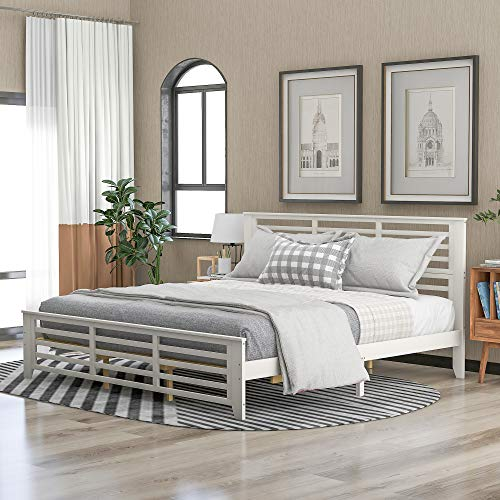 Kteam Platform Bed with Horizontal Strip Hollow Shape, King Size Bed Frame, with Wood headboard and Footboard beds(White)