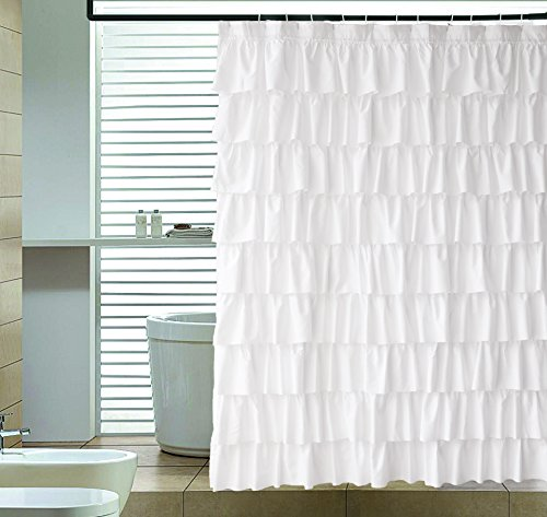 Ameritex Ruffle Shower Curtain Home Decor | Soft Polyester, Decorative Bathroom Accessories | Great for Showers & Bathtubs |White,72' x 72'