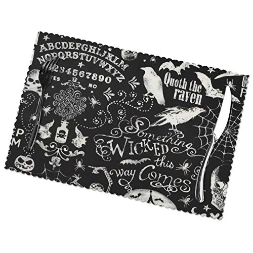 6PCS Halloween Place Mats Vintage Magic Ouija Board Skull Placemats Washable Fabric Insulated Dining Table Mats 12x18