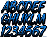 Stiffie Whipline Octane Blue/Black 3' Alpha-Numeric Registration Identification Numbers Stickers Decals for Boats & Personal Watercraft
