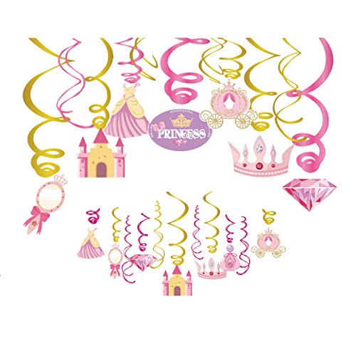 Kristin Paradise 30Ct Princess Hanging Swirl Decorations, Cinderella Party Supplies, Little Royal Queen Birthday Theme Pink Decor for Boy Girl Fairytale Baby Shower, Kids 1st Bday Favors