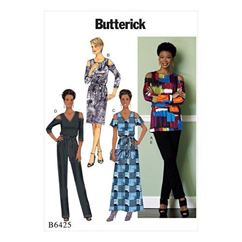 Vlinderpatronen 6425 A5, mist top, jurk, jumpsuit, panty's en sjerp, maten 6-14, Tissue, veelkleurig, 17 x 0.5 x 22 cm