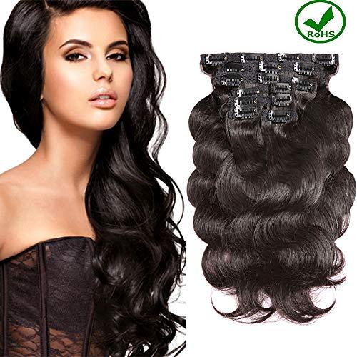 Topuhair Body Wave Clips Cheveux Humain 100% Remy Cheveux Clips Tissage Cheveux Femme Noir 1B Color Cheveux Humain Brésil (12Pouce/30cm, 1B Body Wave)