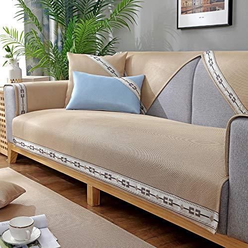 YUTJK Sofá Transpirable,Fresco y Lavable,Funda de sofá de Esquina,Fundas de Asiento de sofá de Tela para Sala de Estar,Funda Protectora de Muebles,Beige_70×150cm