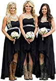 Fanciest Women's Strapless High Low Bridesmaid Dresses Wedding Party Gowns Black US14