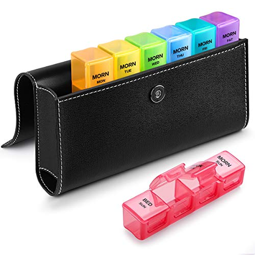Pill Organizer 4 Times a Day with PU Leather Case, Sukuos Large 7 Day Pill Case (Morning Noon Eve Bed), Daily Pill Box for Vitamin/Fish Oil/Supplements