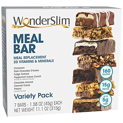 WonderSlim Meal Replacement Protein Bar - Low Carb Nutrition Bar for Women & Men - Variety Pack - High Fiber, Weight Loss Diet Snack Bar (7ct)