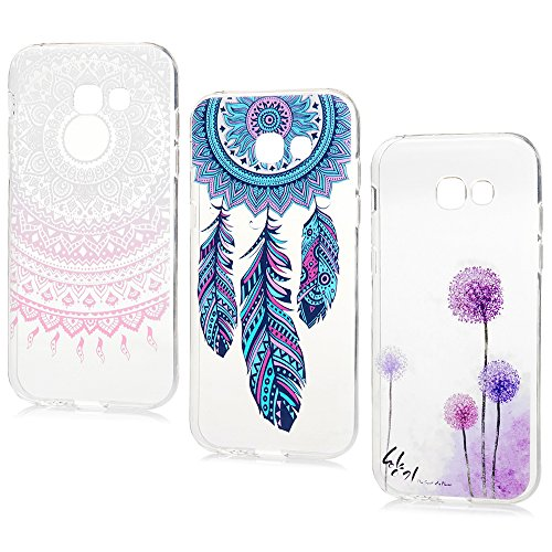 Lanveni Lot de 3 pour Samsung Galaxy A5 2017 Coque Phone Case de Protection en TPU Souple Ciselé Dessin Coloré Flexible Cover Antichoc - Totem+Pissenlit+Campanule
