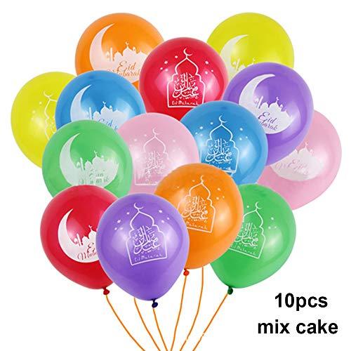 Lemon-Land 10 stks 10 inch Zwart Feestartikelen Decoraties Moslim Ramadan Kareen Cake Ballon Eid Mubarak Latex Ballonnen 10pcs mix cake Zwart