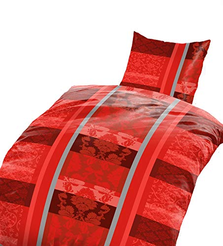 2tlg Warme Winter Bettwäsche Coralfleece Flausch - Nicky Plüsch 1x 135x200 + 1x 80 x80 NEU Rot
