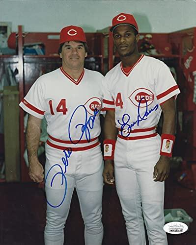 Autographed Pete Rose & Eric Davis Cincinnati Reds Autographed 8x10 photo - JSA