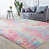 GKLUCKIN Shag Ultra Soft Area Rug, Fluffy 7'X10' Rainbow Rugs Plush Fuzzy...