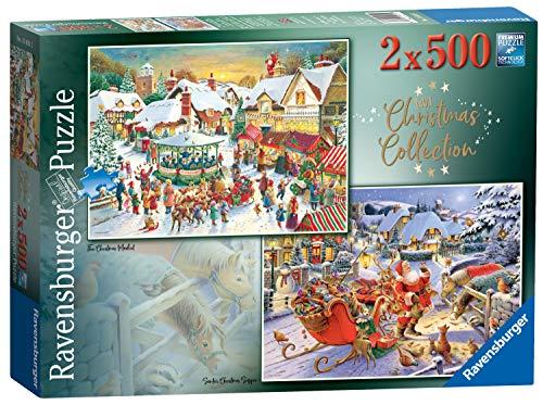 Ravensburger 15031 Collection No.1 Market & Santa's Christmas Supper 2X 500 Teile Puzzle für Erwachsene & für Kinder ab 10 Jahren