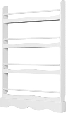 Homfa Kids Bookshelf, 4 Tier Children's Bookcase Rack Free Standing Against The Wall, Display Storage Shelves for Books T