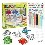 Dinosaur Suncatcher Kit for Kids, Dinosaur Window Art Craft Kit for Boys and Girls, Includes 6 Dinosaur Sun Catchers, 6 Paints, 4 Templates and More, Double Kit - Window Art and Sticky Suncatcher Art