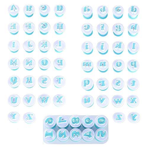 N\\O Cortador Letras Fondant, Moldes de Letras y Numeros, Moldes para Fondant, 26 Letras mayúsculas, 26 Letras minúsculas, 10 números, para Decoración de Tartas Galletas Fondant