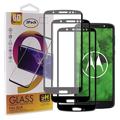 Guran [3 Stück Gehärtetes Glas Displayschutzfolie für Motorola Moto G6 Plus (5.9zoll) Smartphone Full Coverage HD Schutzfolie Film Kompatibel Panzerglasfolie - Schwarz