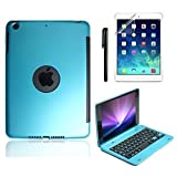Boriyuan スリムiPad Miniケース キーボード付き アルミニウム ワイヤレス Bluetoothキーボード フォリオスマートスタンドカバー Apple iPad Mini 3iPad Mini 2Retina W スリープ・スリープ解除 スクリーンプロテクター スタイラスペン レッド iPad Mini 3/ Mini 2 PB-IPMN-F1-BE