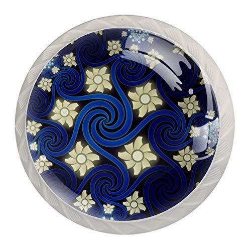 Manilla de puerta de cajón, 4 piezas, diseño abstracto en espiral