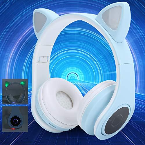 Auriculares para PC, Auriculares para computadora con cancelación de Ruido, Música de Juego de Oreja de Gato en la Oreja para teléfono de computadora