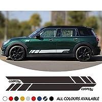 ZYHZJC 2PcsカースタイリングクーパーSグラフィックスビニールデカールレーシングドアサイドストライプステッカー MINI Cooper S Clubman F54JCWの場合