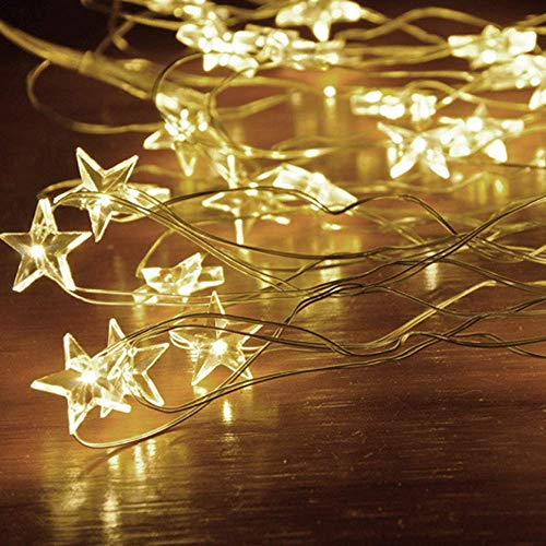 JALAL Christmas Decorative Star Light, Cozy String Fairy Lights for Bedroom Party with 30/50 LED Beads