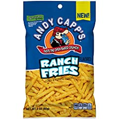 Contains twelve 3-ounce bag of Andy Capp's Ranch Fries Snacks Andy Capp's Fries look like french fries, but crunches like chips Taste the ranch flavor and oven baked crunch in this nostalgic salty snack With 140 calories, these crunchy fries are a un...