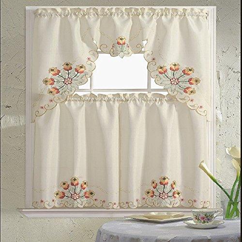 B&H Home Jackie Floral Embroidered 3-Piece Kitchen Curtain Window Treatment Set (Jackie Orange)