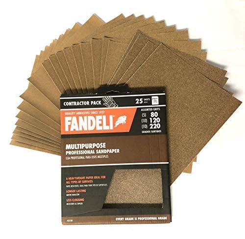 "Fandeli Assorted Grits (80,120,220), sandpaper sheets, multipurpose for furniture, wood, metal, ""9x11"