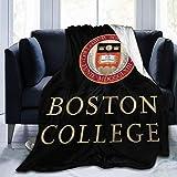 Mniunision Boston College Team University Ultra Soft Throw Blanket Flannel Fleece All Season Light Weight Living Room/Bedroom Warm Blanket Black