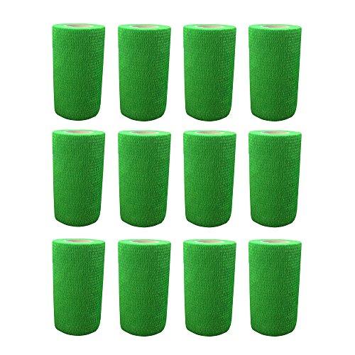 Haftbandage–12Rollen x 10cm x 4,5m, Erste Hilfe, Sport, Bandagen, COBOX Tierarztverband selbstklebende Bandagen, grün