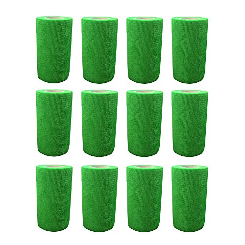 Vendaje autoadhesivo (12rollos) de 10cm x 4,5m, para primeros auxilios, deportes, vendas, animales, de Cobox, verde