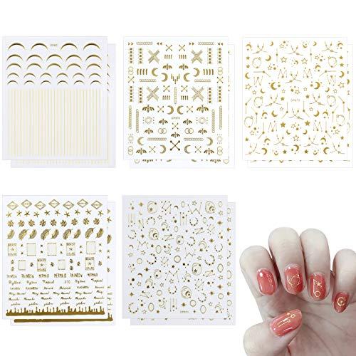 LxwSin 10 Hojas Pegatinas Uñas Decorativas Adhesivas Calcomanías Uñas Estrellas Letras Etiquetas...