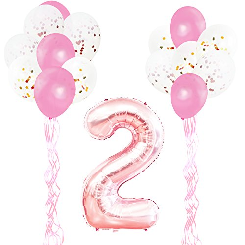 KUNGYO 2nd Birthday Party Decorations Kit-Giant Rose Gold Number 2 Foil Balloon,Pink Ribbons, Latex Confetti Balloons, 18 Pieces Party Supplies Set for Girl Birthday Anniversary Ceremony