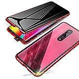 Jonwelsy Anti-Spy Funda para Xiaomi Mi 9T / 9T Pro, 360 Grados Proteccion Case, Privacidad Vidrio Templado Anti espía Cover, Adsorción Magnética Metal Bumper Cubierta para Xiaomi Mi 9T Pro (Rojo)