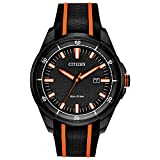 Citizen Men's Drive Stainless Steel Quartz Watch with Silicone Strap, Black, 22 (Model: AW1608-01E)