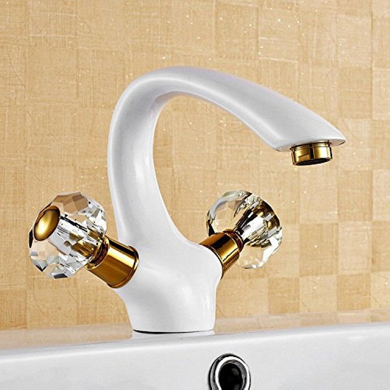 Gyps Faucet Basin Mixer Tap Waterfall Faucet Antique Bathroom Mixer Bar Mixer Shower Set Tap antique bathroom faucet Antique white gold-copper bathroom sink basin and cold water crystal handle,Modern