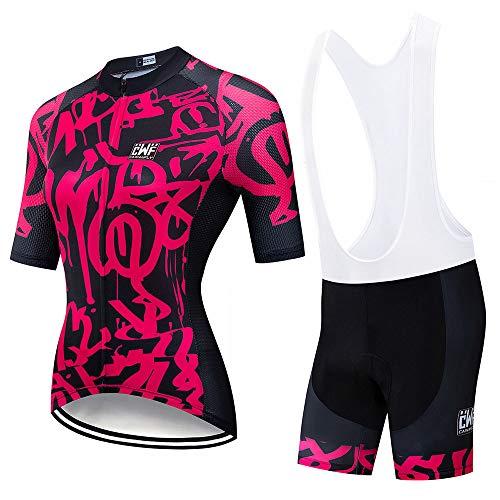 Kevin Bin Ciclismo Jersey,Conjunto Ropa Ciclismo para Mujer MTB Bike Cycling Jersey & Bike Shorts Kit Maillot Ciclismo Traje Ciclismo para Mujer