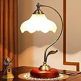 Chao Zan Lámpara de mesa, Lámpara de escritorio retro de vidrio blancocon,lámpara de noche,230 V E27 máx. 60 W (sin bombilla)
