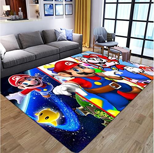 HUABUDAYIN Cartoon 3D Anime Super Mario Pattern Tappeti per Soggiorno Camera da Letto Tappeto per Bambini Tappeto da Gioco per Bambini 100x150cm
