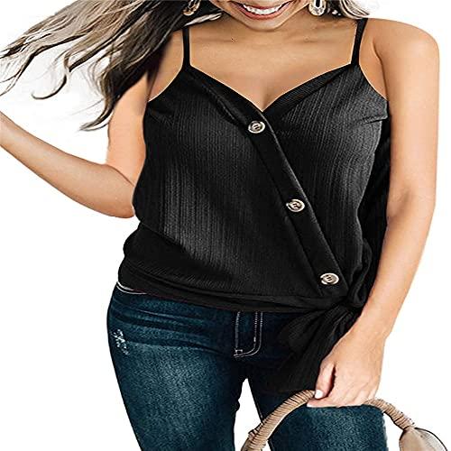 Chaleco Casual de Verano para Mujer, Camiseta con Cuello en V con Botones Chaleco Informal Top sin Mangas Camisa Simple básica botón de Verano Informal Suelta Moda Adecuada para Todas Las Ocasiones