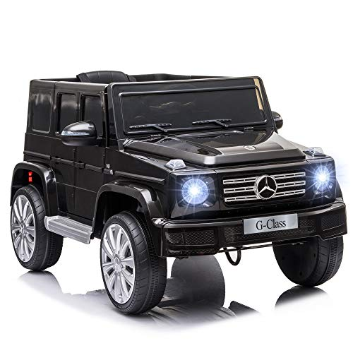 HOMCOM Compatible 12V Battery-powered Kids Electric Ride On Car Mercedes Benz G500 Toy with Parental Remote Control Music Lights MP3 Suspension Wheels for 3-8 Years Old Black