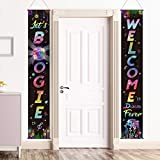 70's Party Scene Setters Wall Decorating Kit Disco Porch Sign Party Retro Banner Door Sign for 1970s Theme Party Rock Boogie Birthday Decoration (70s Disco Fever)